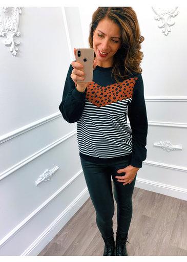 Cheetah Streep Sweater Terracotta