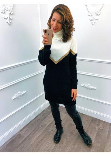 Golden Line Dress Zwart