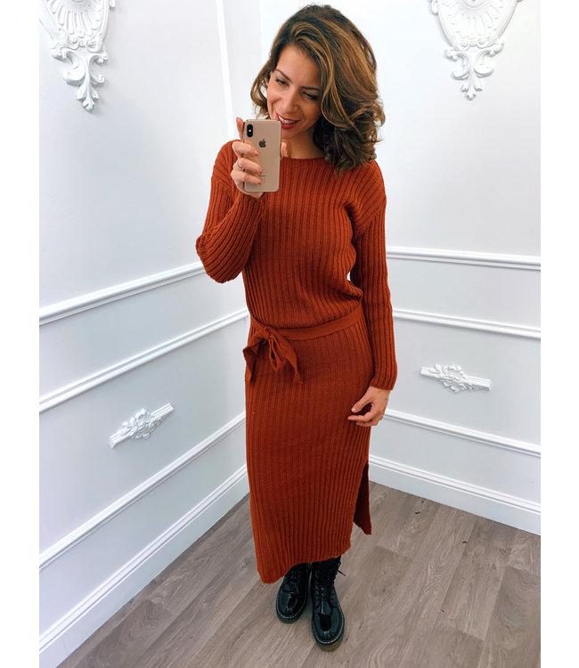 Gebreide Dress Midi Terracotta