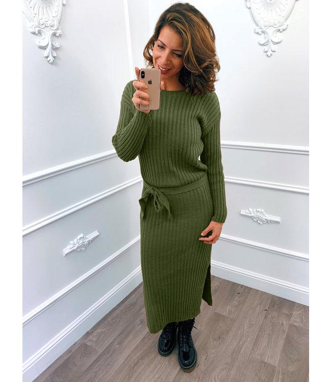 Gebreide Dress Midi Groen