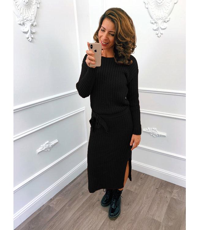 Gebreide Dress Midi Zwart