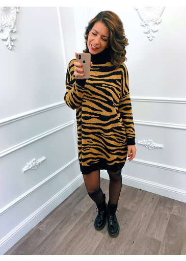 Zebra Col Dress Camel
