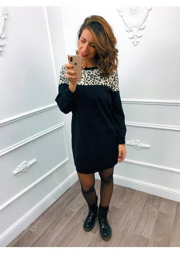 Cheetah Strook Dress Creme