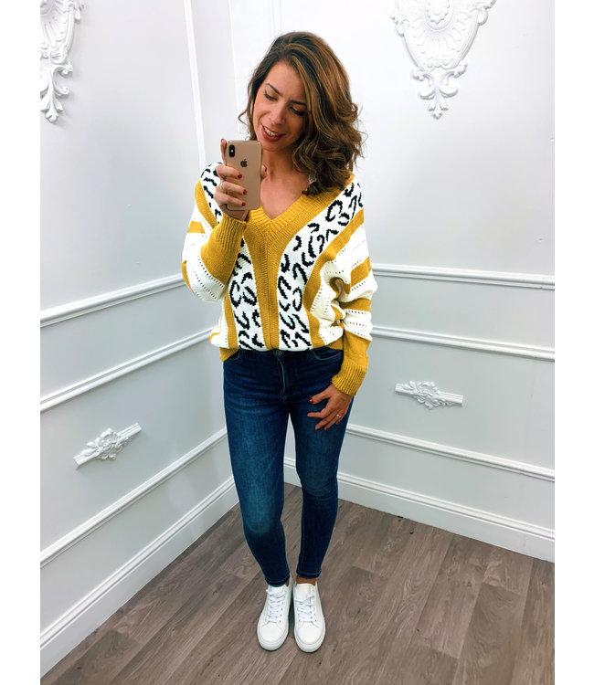Leopard Stripe Trui Oker