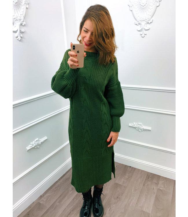 Kabel Dress Lang Groen