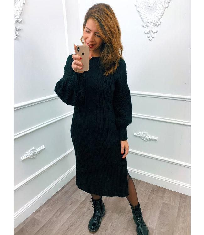 Kabel Dress Lang Zwart