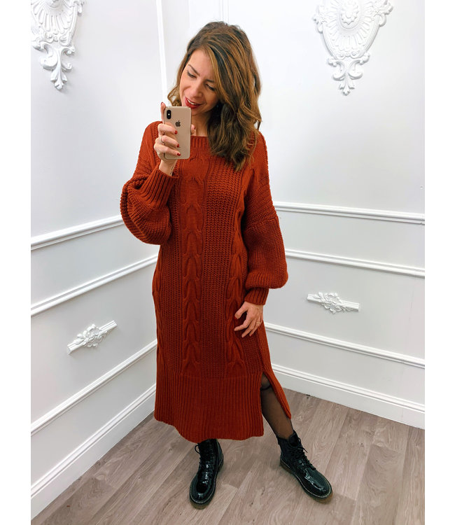 Kabel Dress Lang Terracotta