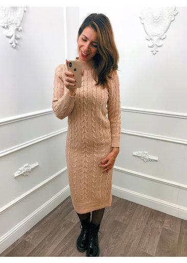 Gevlochten Dress Midi Roze