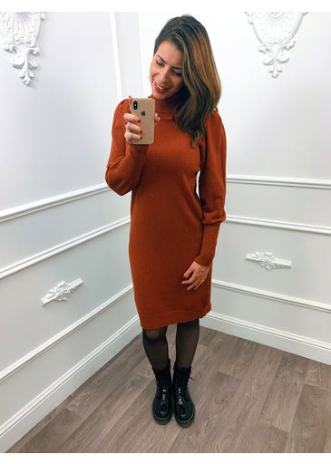 Pofmouw Col Dress Terracotta