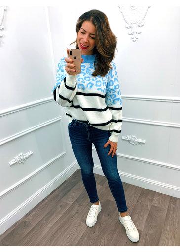 Leopard Streep Sweater Baby Blauw