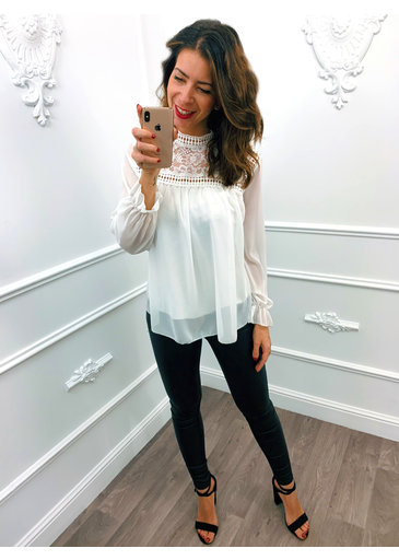 Lace Col Top Wit