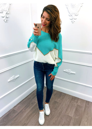 Golden Line Sweater Mint Groen
