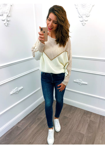 Golden Line Sweater Creme