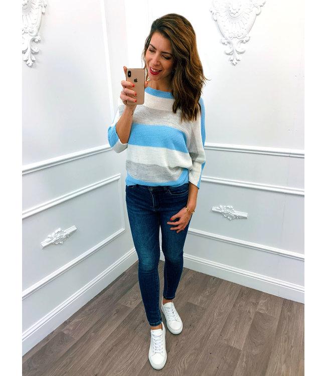 Strook Sweater Blauw