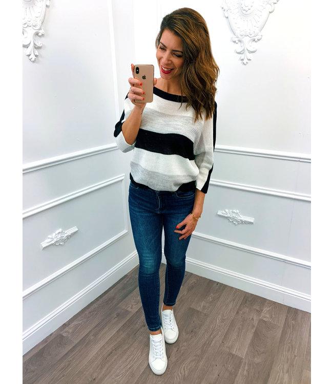 Strook Sweater Zwart