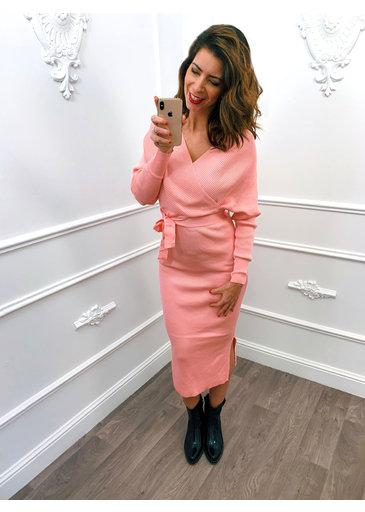 Overslag Stretch Dress Roze