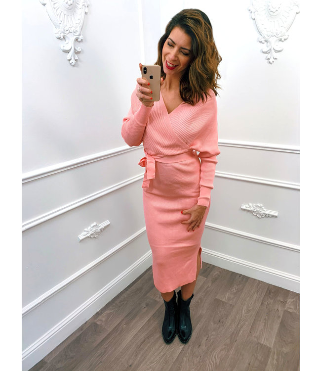Overslag Stretch Dress Roze