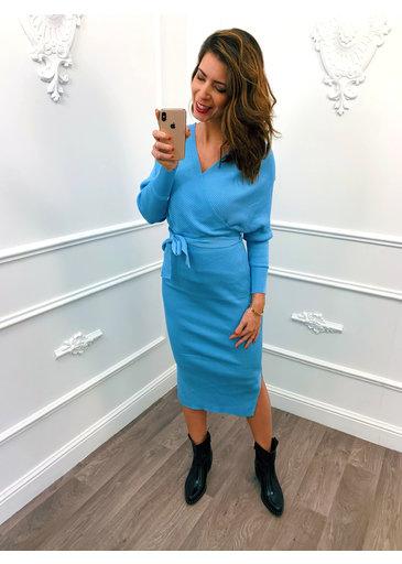 Overslag Stretch Dress Blauw