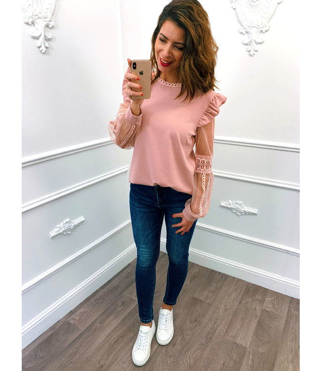 Lace Sleeve Top Roze