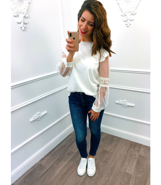 Lace Sleeve Top Wit