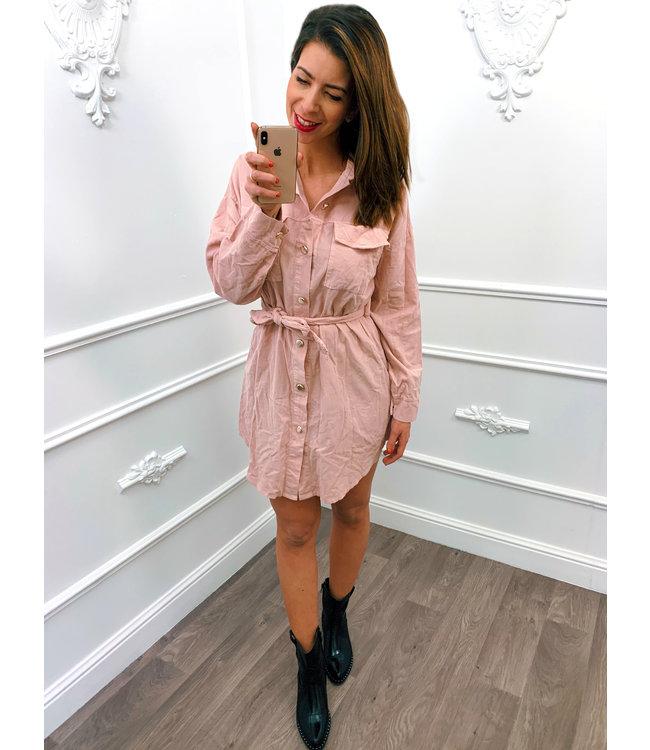 Rib Blouse Dress Roze
