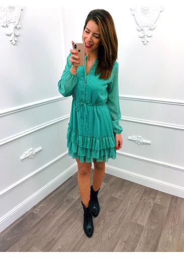 Sweet Ruffel Dress Mint Groen