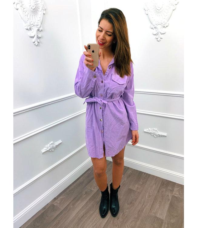 Rib Blouse Dress Lila