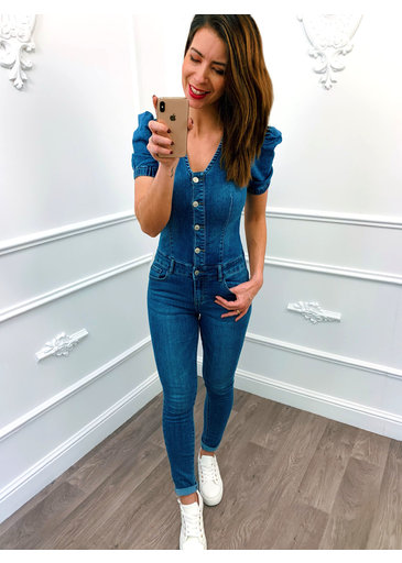 Pofmouw Kort Denim Jumpsuit