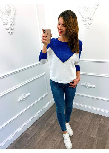 Golden Line Sweater Kobalt Blauw