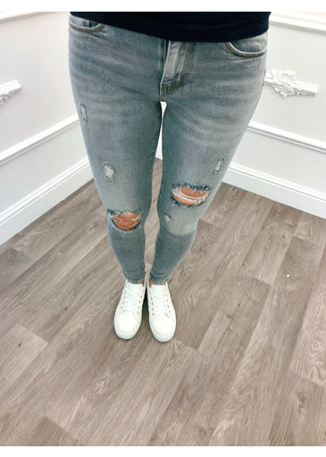 Skinny Jeans Rip Grijs