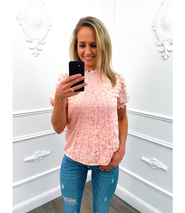 Romantic Pofmouw Top Roze