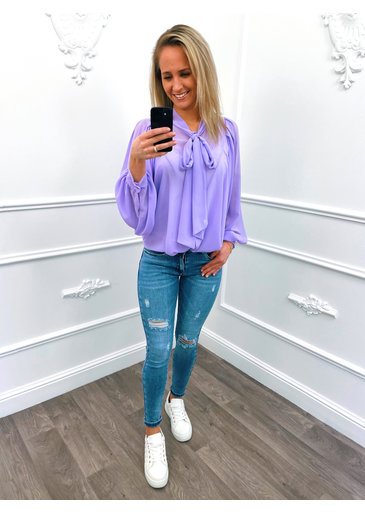 Oversized Strik Blouse Lila