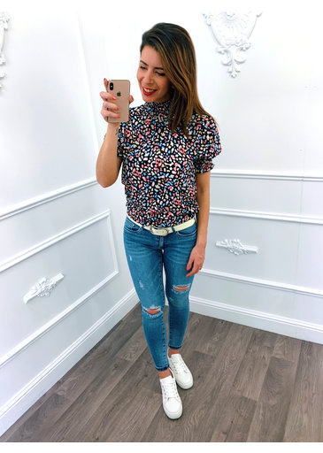 Colorful Leopard Col Top