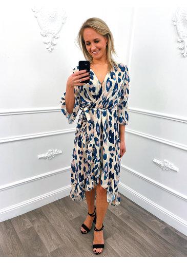 Leopard Overslag Dress Creme
