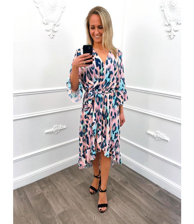 Leopard Overslag Dress Blauw