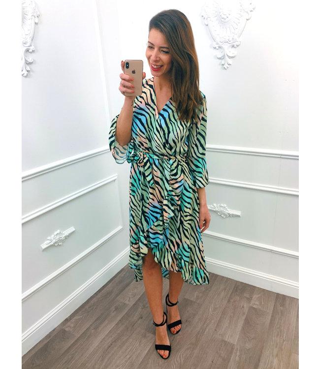 Colorful Zebra Dress Mint Groen