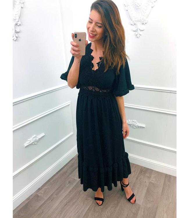 Lace Maxi Dress Zwart