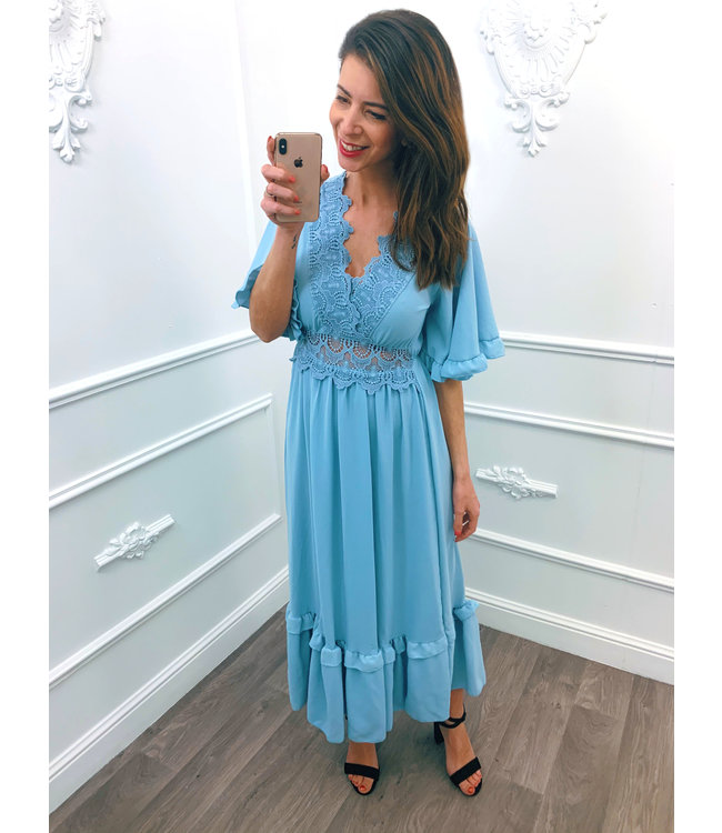 Lace Maxi Dress Baby Blauw
