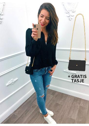 Special Blouse Zwart + Gratis Tasje