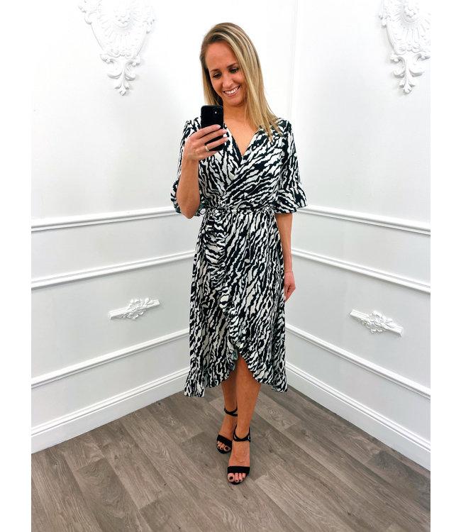 Zebra Ruffel Midi Dress