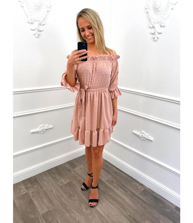 Off Shoulder Dots Dress Roze
