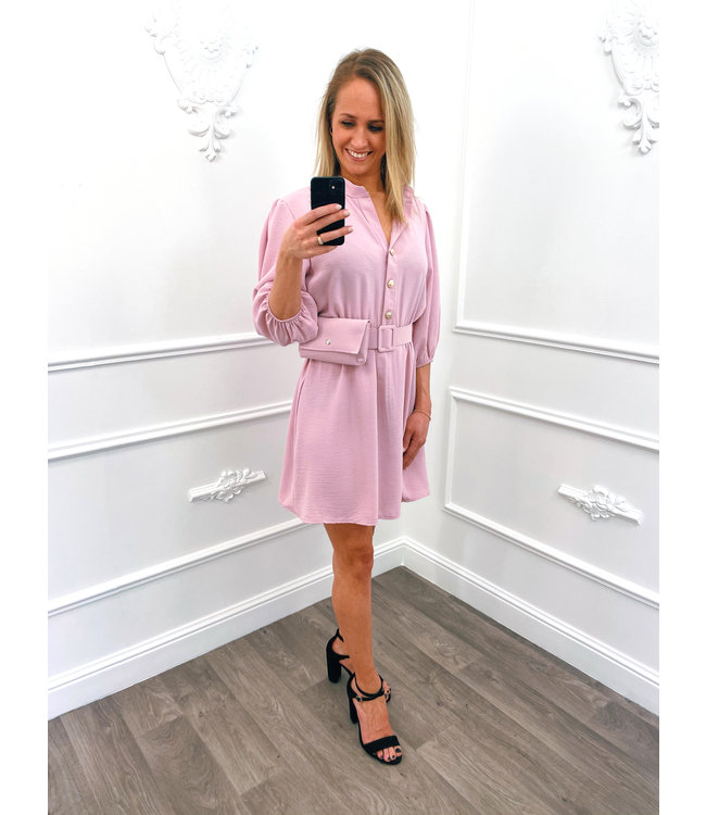 Button Dress Roze + Gratis Tasje