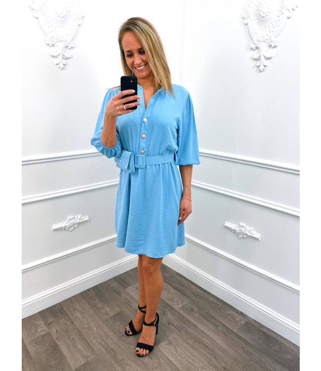 Button Dress Blauw + Gratis Tasje