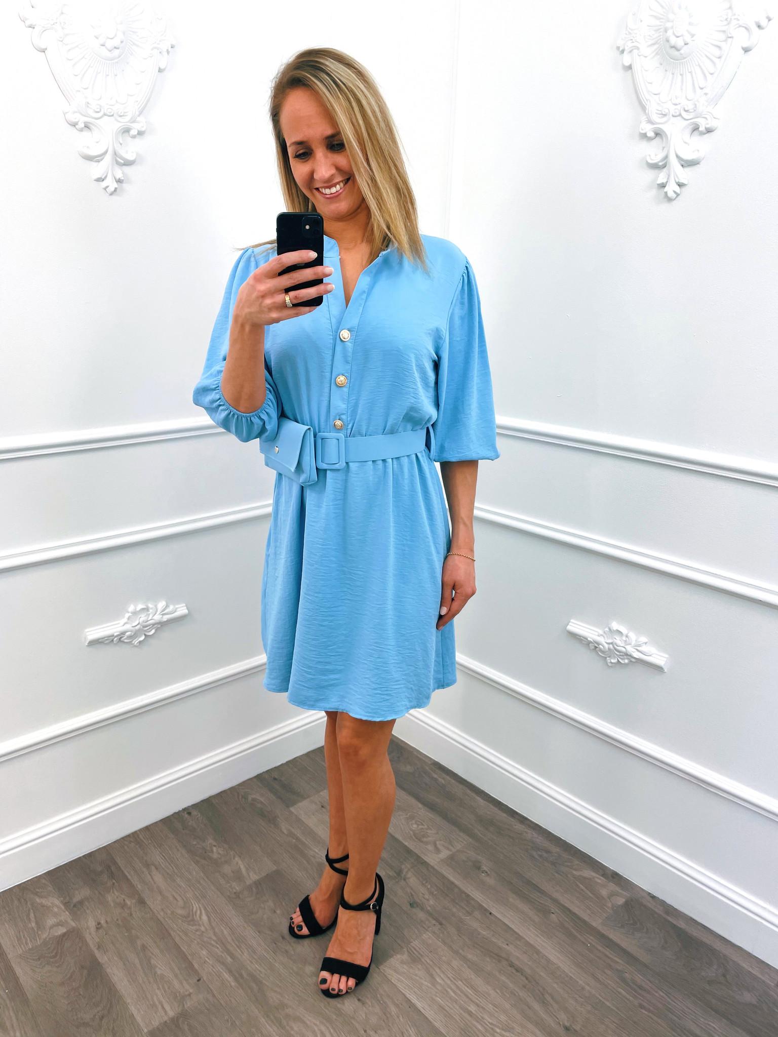 Button Dress Blauw Gratis Tasje