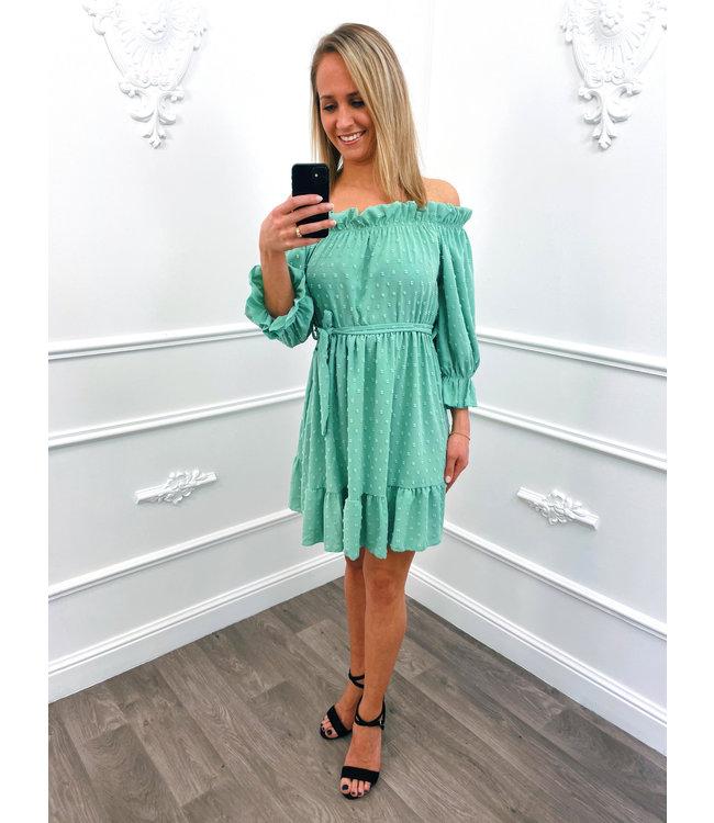 Off Shoulder Dots Dress Mint Groen