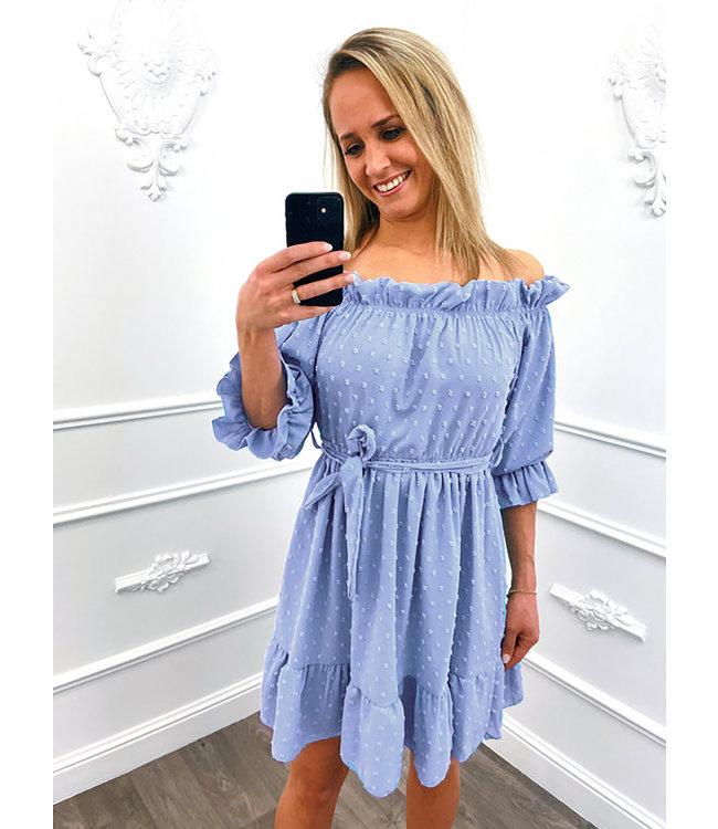 Off Shoulder Dots Dress Blauw