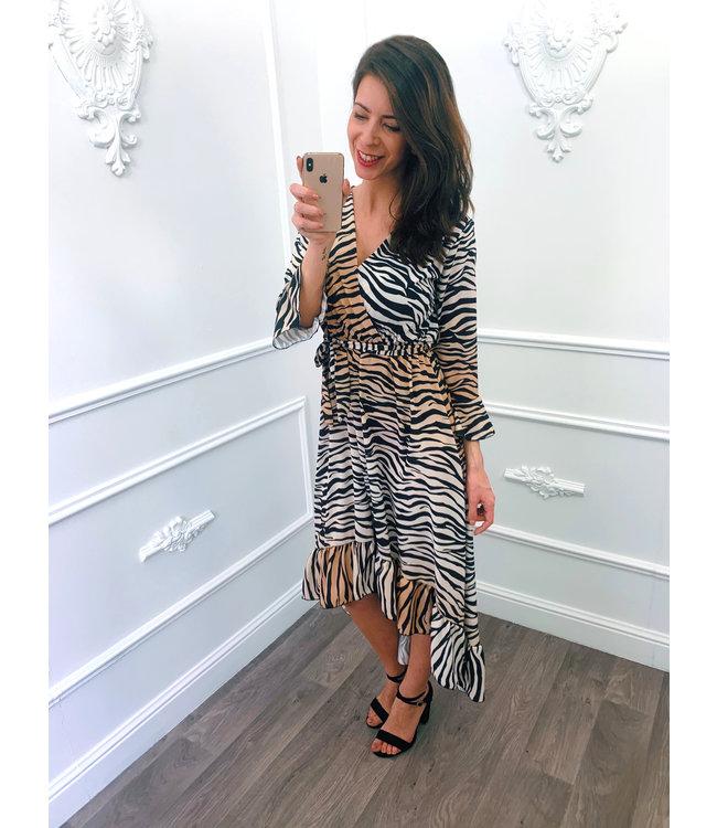 Zebra Midi Dress Camel