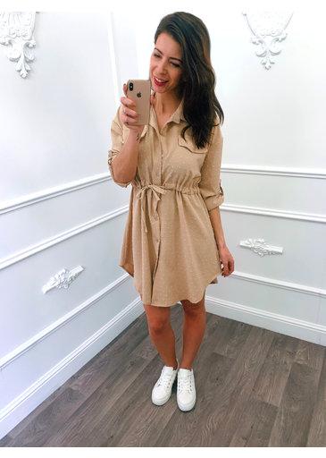 Blouse Dots Dress Beige