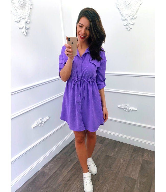 Blouse Dots Dress Lila