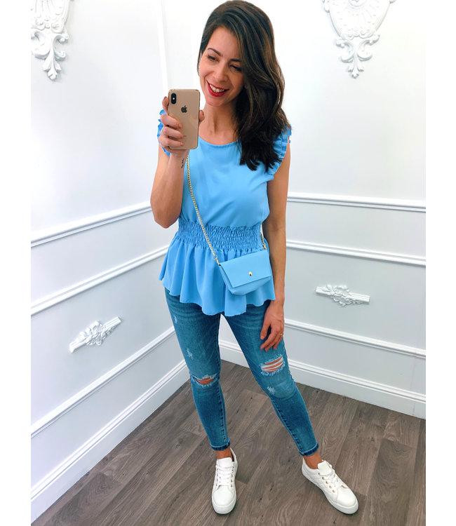 Ruffel Taille Top Blauw + Gratis Tasje